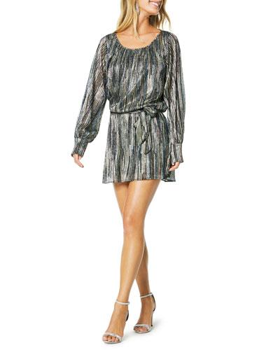 Jordan Long-Sleeve Metallic Short Dress