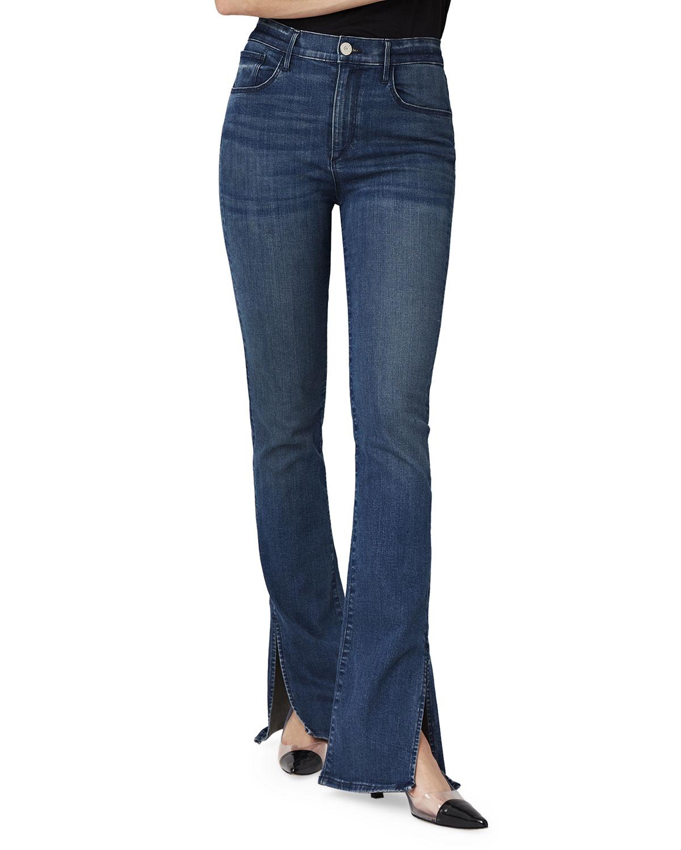 3x1 Jeans HIGH-RISE SLIM BELL BOOT-CUT JEANS W/ SPLIT HEM
