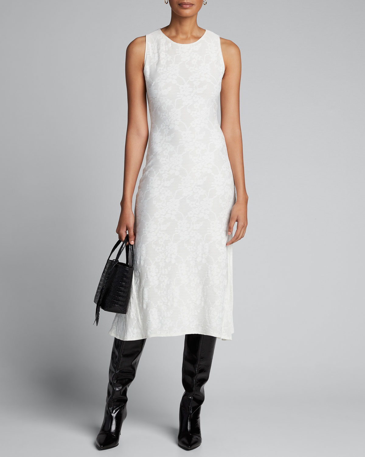 Fuzzi Dresses SLEEVELESS STRETCH LACE MIDI DRESS
