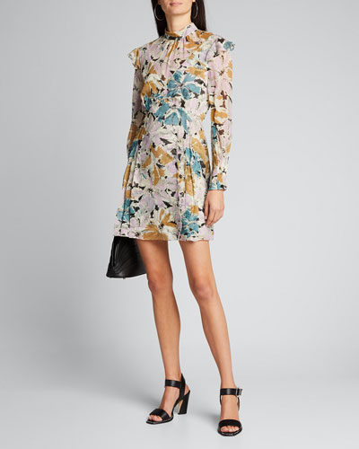 Elinor Floral-Print High-Neck Dress