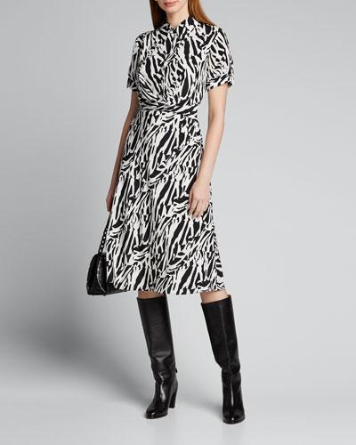 Deborah Collared Zebra-Print Midi Dress