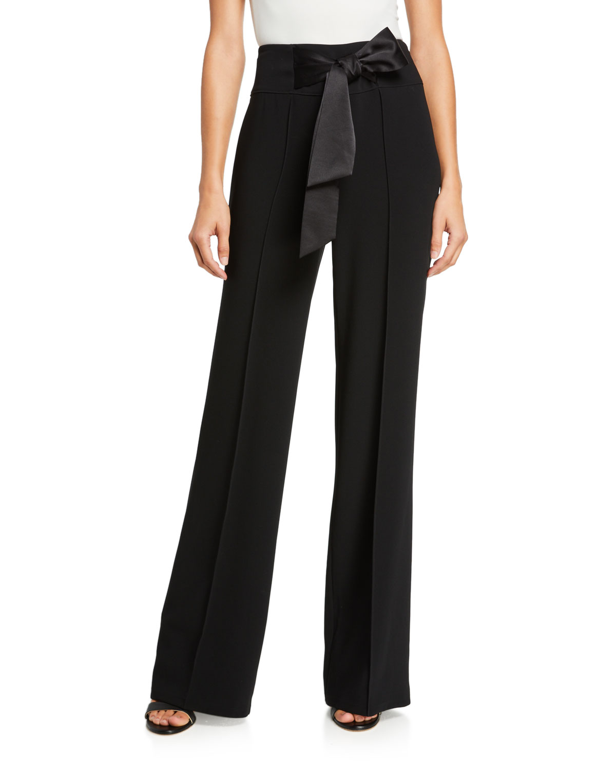 Cinq À Sept Pants ISABEL CREPE PINTUCK TIE-WAIST PANTS