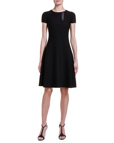 Cubic Knit Cap-Sleeve Full-Skirt Dress