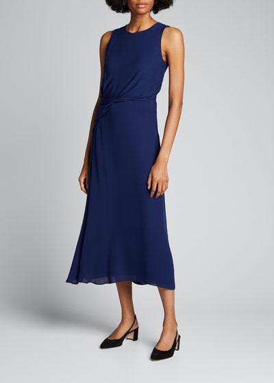 Draped Silk Cocktail Dress