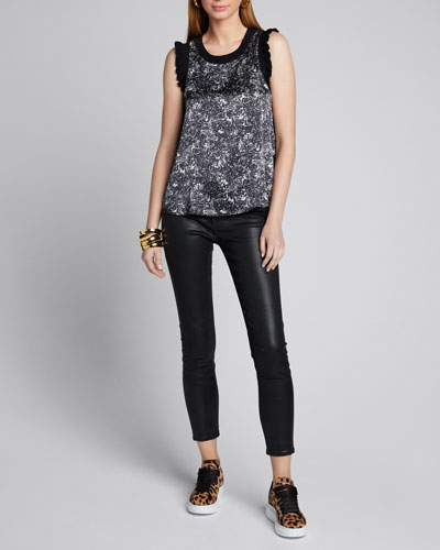 Lenore Printed Sleeveless Top w/ Ribbed Trim