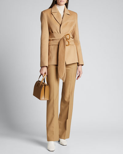 Brushed Wool Double-Belted Blazer