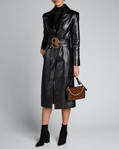 Faux-Leather Coat with Double Belt