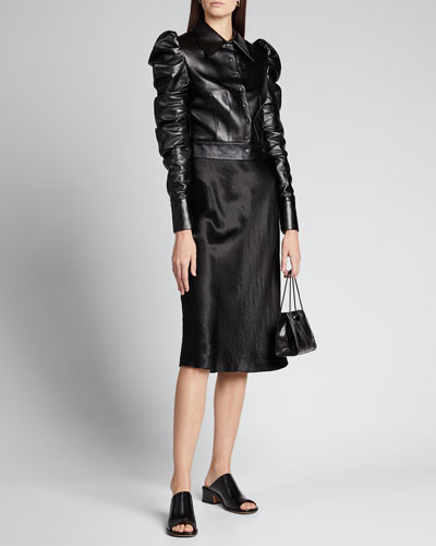 Puff-Sleeve Faux-Leather Jacket