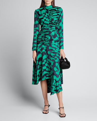 Printed Draped Asymmetric Dress