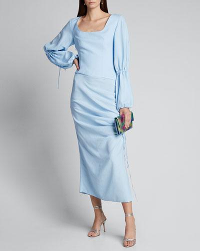 Draped Lantern-Sleeve Dress