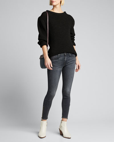 Cate Mid-Rise Ankle Skinny Jeans with Zippers