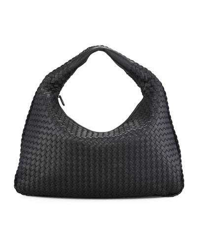 Veneta Intrecciato Large Hobo Bag, Black