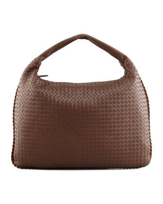 Veneta Maxi Woven Hobo Bag, Brown