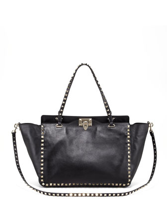 Medium Rockstud Tote Bag, Nero