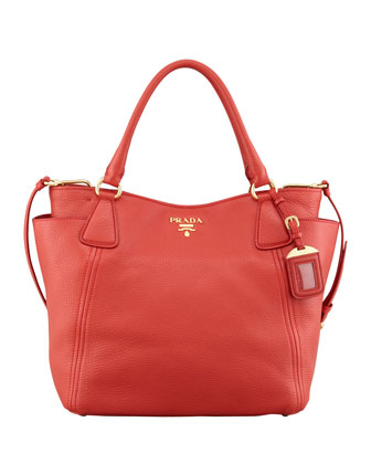 Daino Double-Pocket Tote Bag, Rosso