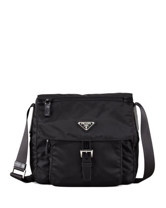 Vela Flap-Front Messenger Bag, Nero
