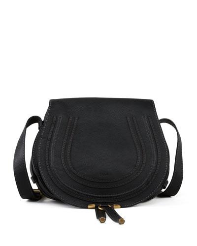 Marcie Medium Leather Crossbody Bag, Black