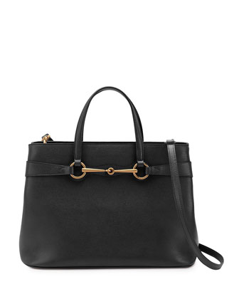 Bright Bit Medium Leather Tote Bag, Black