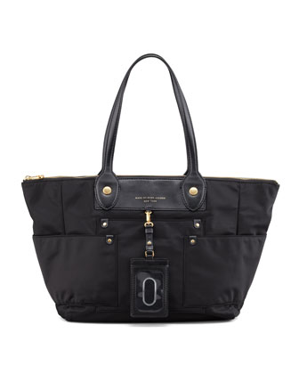Preppy Nylon East-West Tote Bag, Black