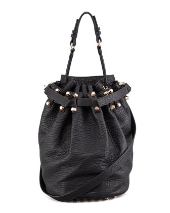 Diego Bucket Bag, Black/Rose Golden Hardware