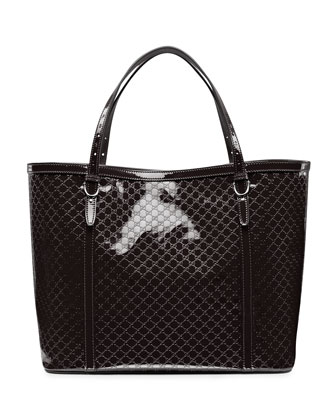 Gucci Nice Microguccissima Patent Leather Tote, Black