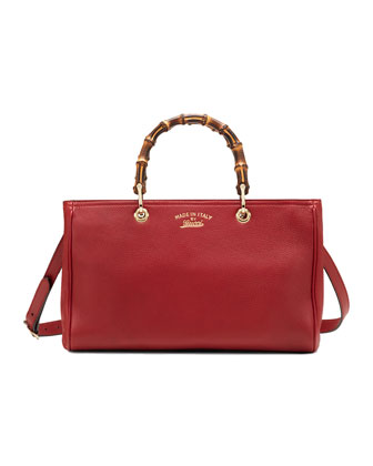 Bamboo Shopper Leather Tote Bag, Red