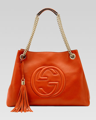 Soho Leather Medium Chain-Strap Tote, Orange