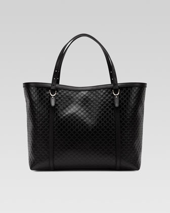 Gucci Nice Microguccissima Leather Tote, Black