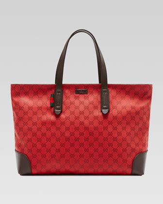 Original GG Canvas Tote, Red