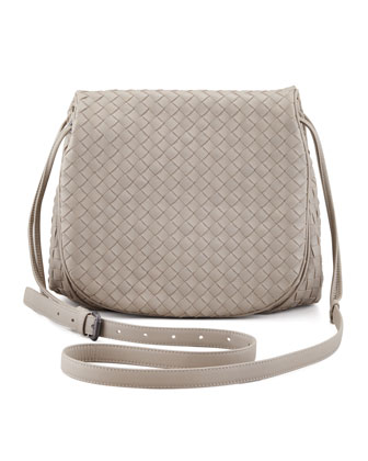 Woven Leather Crossbody Messenger Bag, Gray