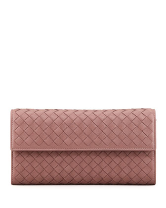 Woven Leather Flap Wallet, Mauve