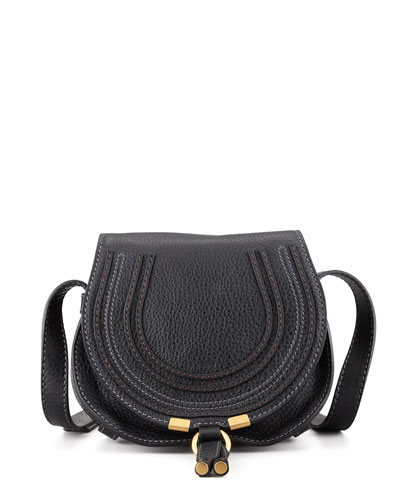 Marcie Small Leather Crossbody Bag, Black