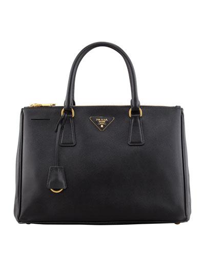 Saffiano Double-Zip Executive Tote Bag, Black (Nero)