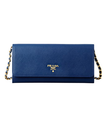 Saffiano Wallet on a Chain, Blue