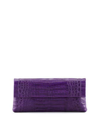Medium Soft Flap Crocodile Clutch Bag, Purple