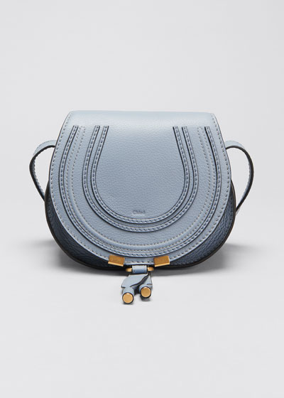 Marcie Small Leather Crossbody Bag, Gray