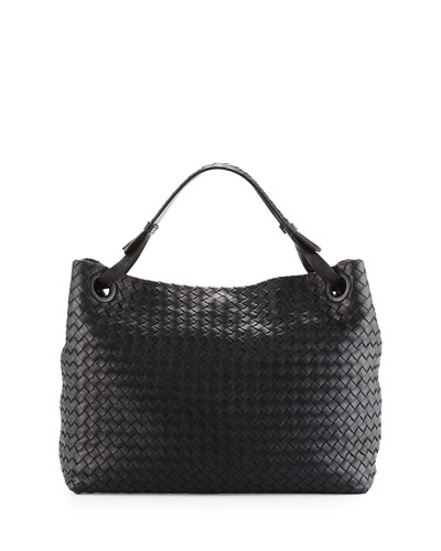 Medium Intrecciato Shoulder Bag, Black