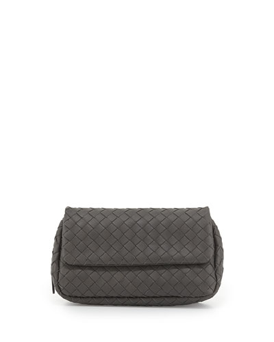 Intrecciato Small Chain Crossbody Bag, Gray