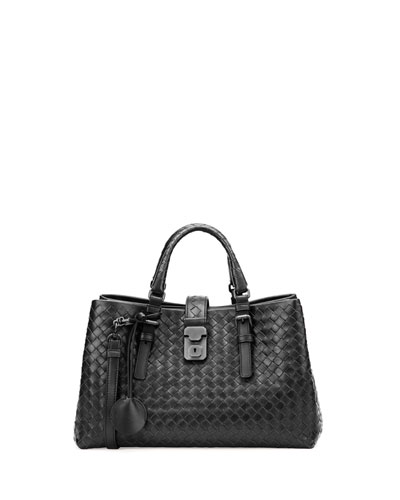 Roma Small Woven Compartment Tote Bag, Black