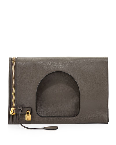 Alix Leather Padlock & Zip Fold-Over Bag, Graphite (Dark Gray )