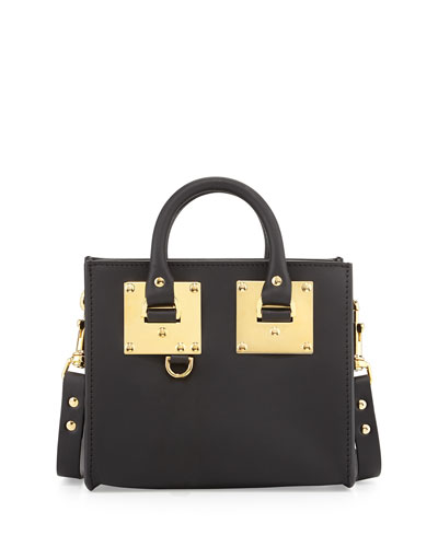 Small Leather Box Satchel Bag, Black