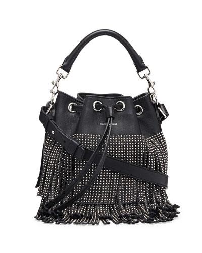 Small Stud Fringe Bucket Shoulder Bag, Black