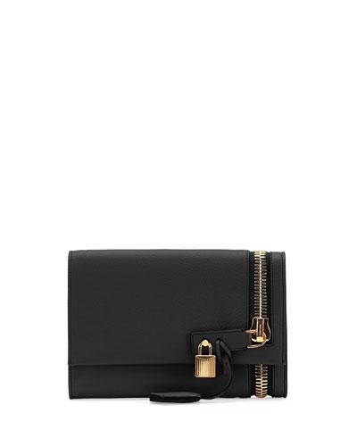 Alix Small Zip & Padlock Crossbody Bag, Black