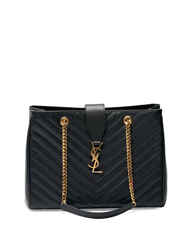 Monogram Matelasse Shopper Bag, Black