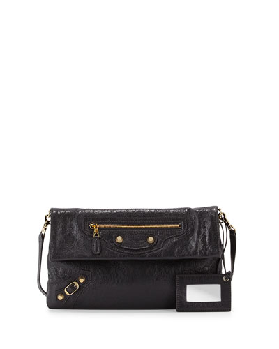 Giant 12 Golden Envelope Crossbody Bag, Dark Gray