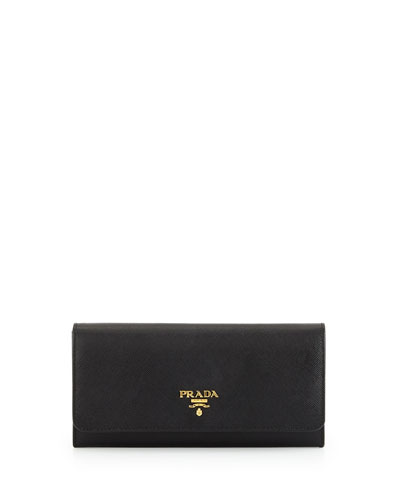 Textured Leather Continental Wallet, Black (Nero)