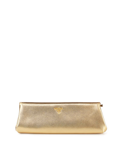 Saffiano East-West Clutch Bag, Gold (Platino)