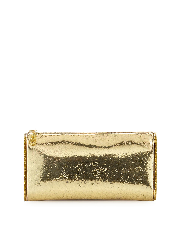 Lara Jumbo Metallic Clutch Bag, Gold