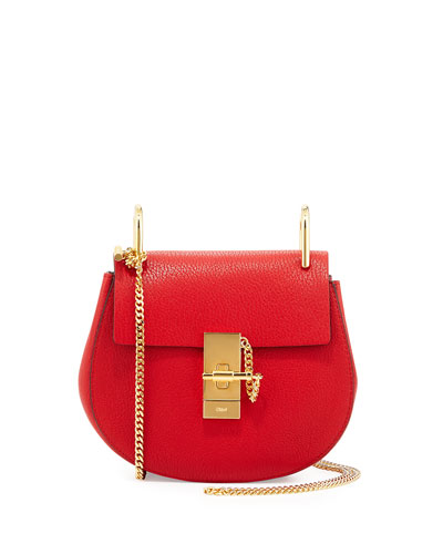 Drew Mini Chain Shoulder Bag, Red
