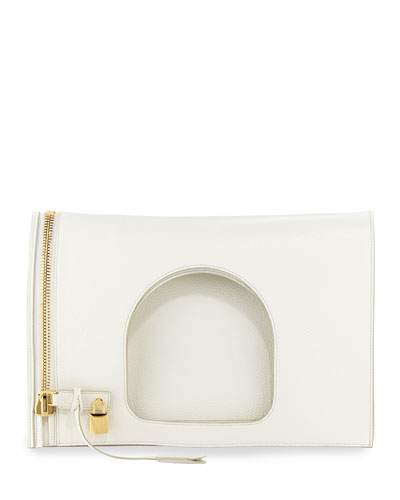 Alix Leather Padlock & Zip Shoulder Bag, White